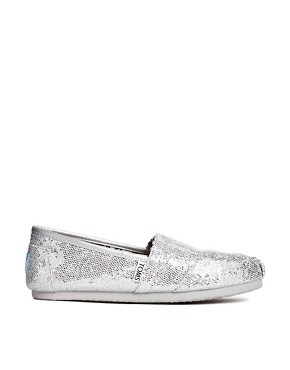 Image 2 ofTOMS Silver Glitter Flat Shoes