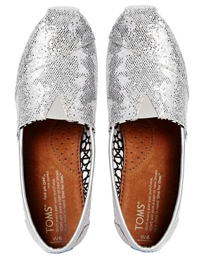 Image 3 ofTOMS Silver Glitter Flat Shoes