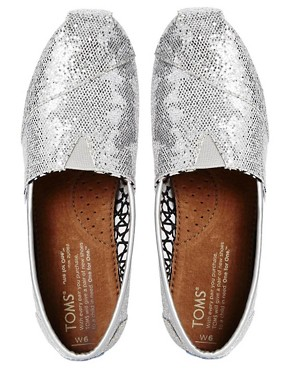 Image 4 ofTOMS Silver Glitter Flat Shoes