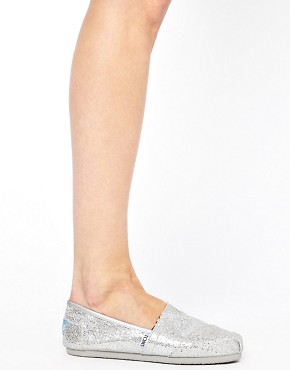 Image 1 ofTOMS Silver Glitter Flat Shoes