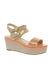 Dune Glaze Buckled Peach Flatform Sandals