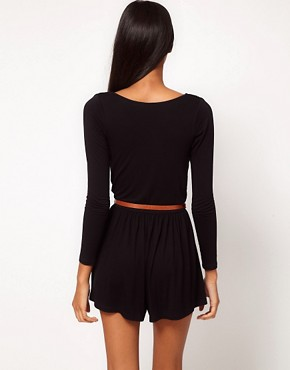 Image 2 ofASOS PETITE Exclusive Wrap Front Playsuit