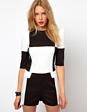 Lavish Alice Playsuit In Checkerboard Print