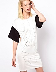 Antipodium Liquify Dress In Markings Print