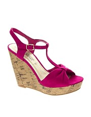 New Look Heath T bar Cork Wedge Sandals