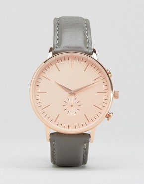 New Look Real Leather Oversized Dial Watch