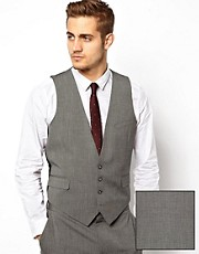 ASOS Slim Fit Waistcoat In Mid Grey