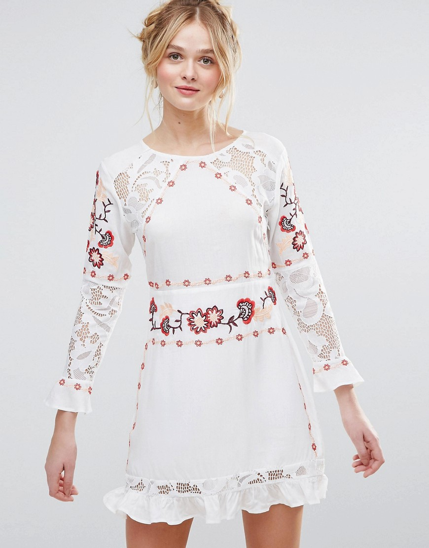 Rd & Koko Long Sleeve Skater Dress With Embroidered & Lace Panel - White