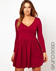 ASOS CURVE Skater Dress With Ballet Wrap