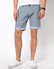 Selected  Chambray-Shorts mit Umschlag