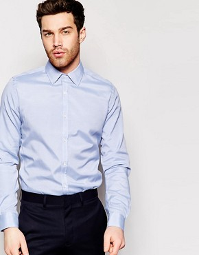 French Connection Blue Oxford Slim Fit Shirt