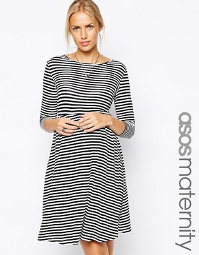 ASOS Maternity Exclusive Slash Neck Skater Dress in Stripe