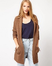 See U Soon Chunky Cardigan With Cable Knit