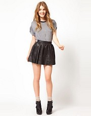 Urban Code Leather Mini Skater Skirt