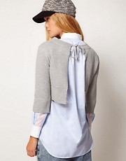 ASOS WHITE Open Back Sweatshirt