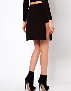 Image 2 ofASOS PETITE Exclusive Cutout Panel Skirt With Shorts