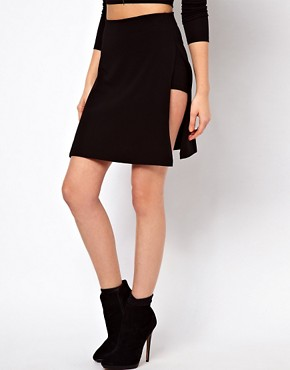 Image 4 ofASOS PETITE Exclusive Cutout Panel Skirt With Shorts