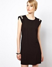 Vila Swing Dress With Embellished Shoulder