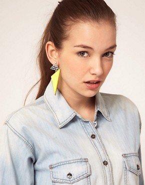 Image 2 ofASOS Triangle Grid Drop Earrings