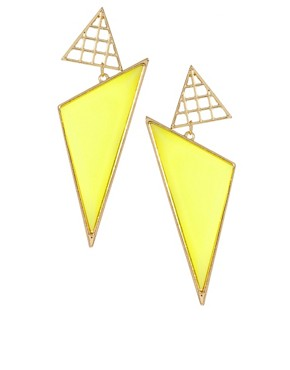 Image 1 ofASOS Triangle Grid Drop Earrings