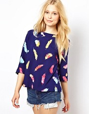 Sugarhill Boutique Smock Top in Feather Print