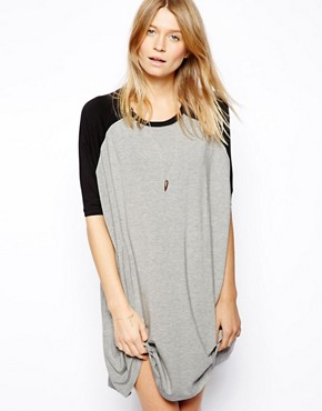 ASOS T-Shirt Dress With Baseball Sleeve - Multi