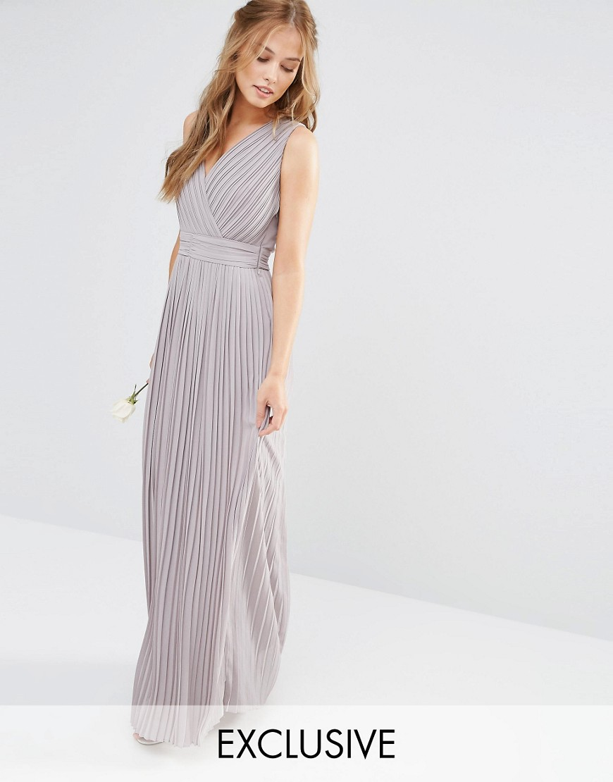 TFNC WEDDING Pleated Wrap Maxi Dress - Gray