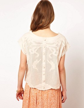 Image 2 ofDress Gallery Embroidered T-Shirt with Buttondown Back