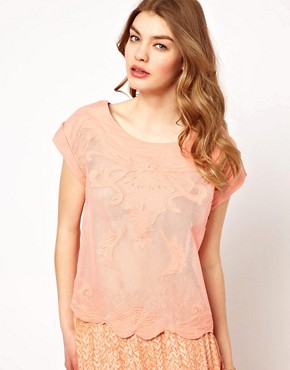 Image 1 ofDress Gallery Embroidered T-Shirt with Buttondown Back