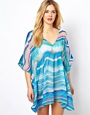 Echo Neon Stripe Butterfly Beach Dress