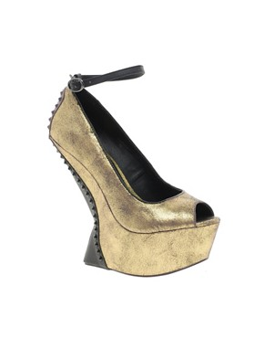 Image 1 ofRiver Island Erin No Heel Peep Toe Wedges