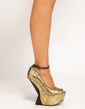 Image 3 ofRiver Island Erin No Heel Peep Toe Wedges