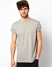 ASOS Crew Neck T-shirt with Roll Sleeve and Skater Fit