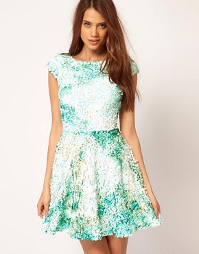 Image 1 ofASOS Skater Dress With Mermaid Sequins