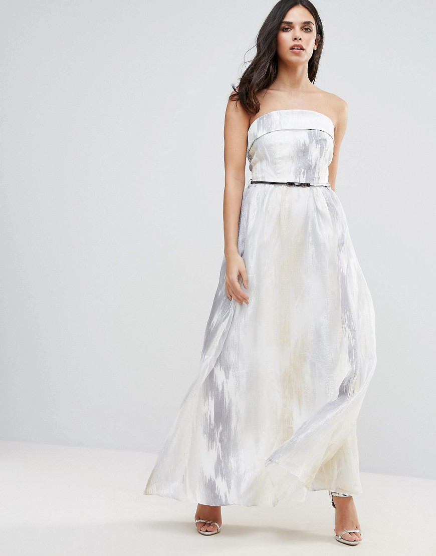 Little Mistress Organza Embroidered Maxi Dress - Silver/white