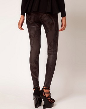 Image 2 ofASOS Leggings in Wetlook Tribal Print