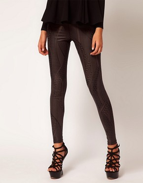 Image 4 ofASOS Leggings in Wetlook Tribal Print