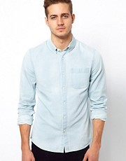 ASOS Denim Shirt With Bleach Wash