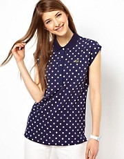 Fred Perry Cap Sleeve Polka Dot Polo Shirt