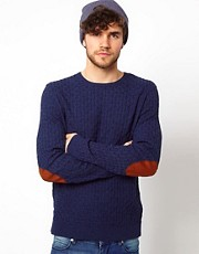 ASOS Cable Knit Sweater with Elbow Patches