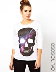 ASOS CURVE Exclusive T-Shirt With Galaxy Skull