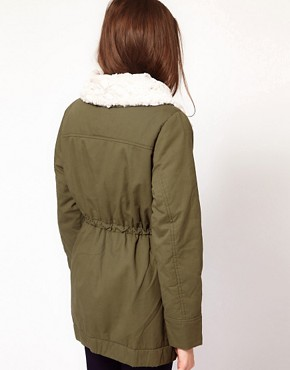 Image 2 ofVila Removable Faux Fur Lining Parka Coat