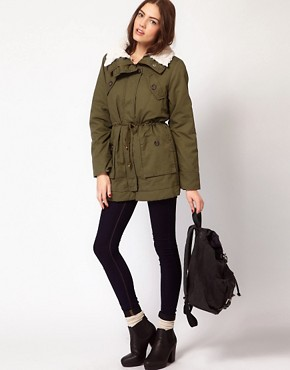 Image 4 ofVila Removable Faux Fur Lining Parka Coat