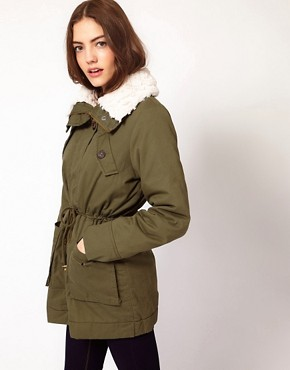 Image 1 ofVila Removable Faux Fur Lining Parka Coat