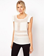 ASOS Top with Blocked Sheer Panel