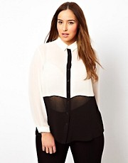 Blusa con panel colour block de New Look Inspire