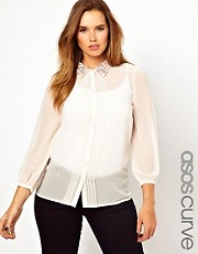 ASOS CURVE Exclusive Embellished Collar Shirt