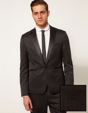 ASOS Slim Fit Tuxedo Suit Jacket in Jacquard