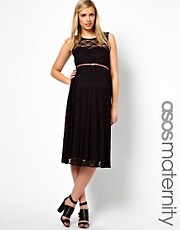 ASOS Maternity Lace Midi Dress with Belt