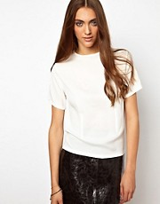 BACK By Ann-Sofie Back Woven T-Shirt With Boning Detail